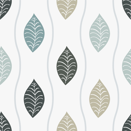 seamless pattern with leaves and lines