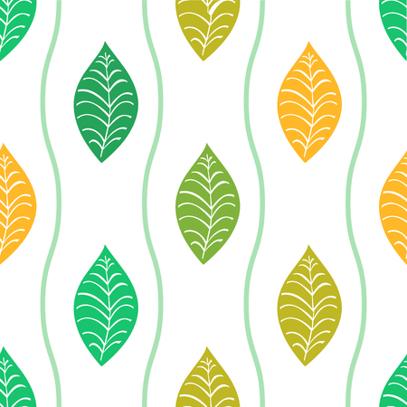 seamless pattern from leaves and lines