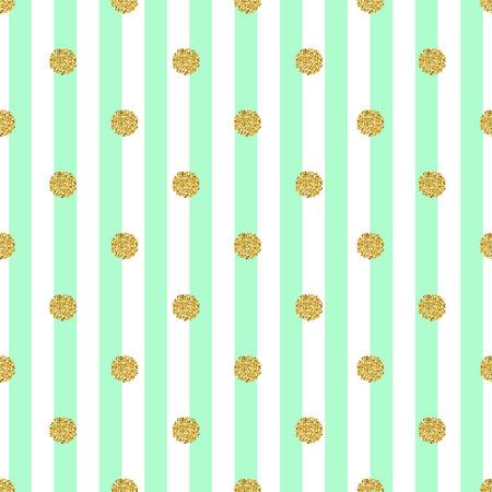 seamless gold dot glitter pattern with stripe green background Ilustração