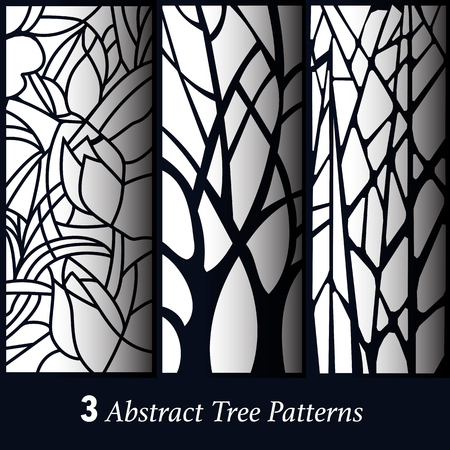 set of 3 abstract tree pattern background