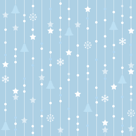 seamless blue christmas pattern with lines stars tree and snowflakes
