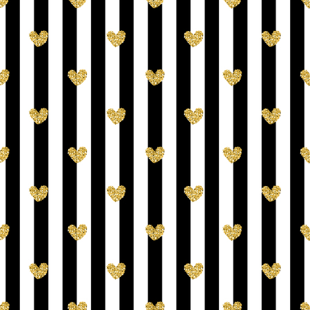 seamless gold heart glitter pattern with stripe background