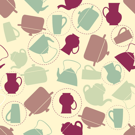 seamless colorful kitchen tools pattern background Stock Illustratie