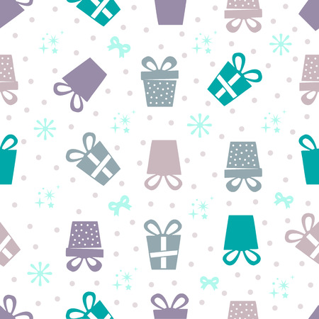 seamless colorful gifts pattern with dot