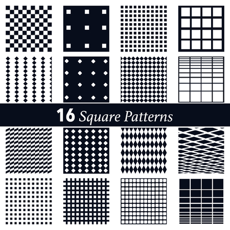 set of 16 square pattern background