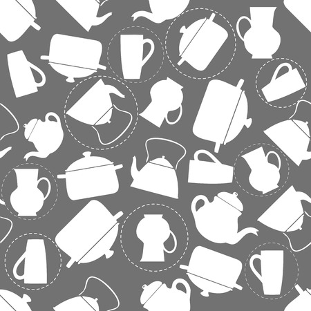 seamless kitchen tools pattern background Stock Illustratie