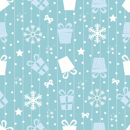 seamless gifts pattern with snowflakes and stars Ilustração