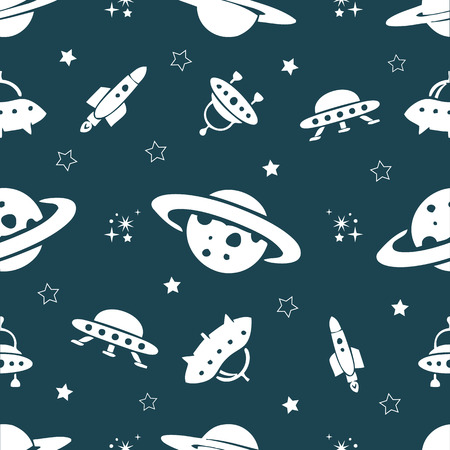 Seamless space pattern from Planets, rockets and stars