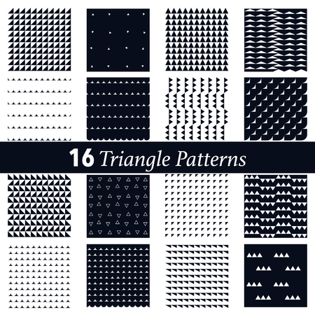 set of 16 triangle pattern background