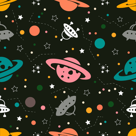 Seamless colorful space pattern from Planets, rockets and stars