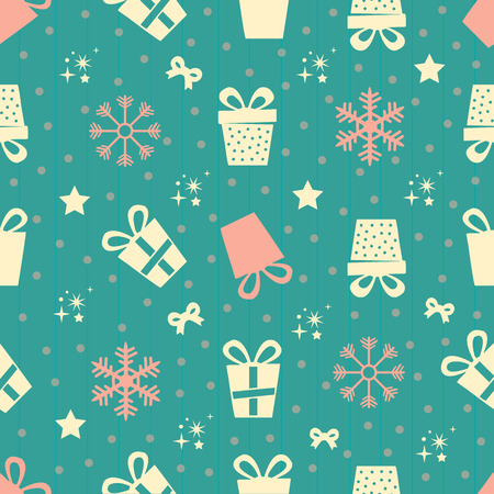 seamless colorful gifts pattern with snowflakes
