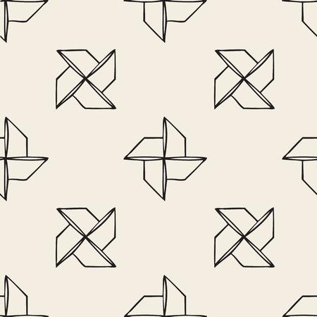 Seamless turbine bird origami monochrome pattern background