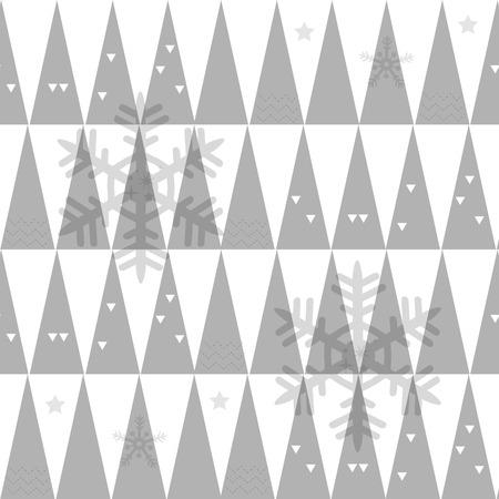 seamless xmas grey pattern background with pine tree