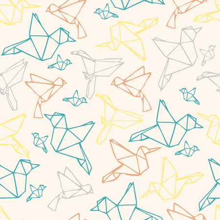 Seamless colorful paper bird origami pattern background