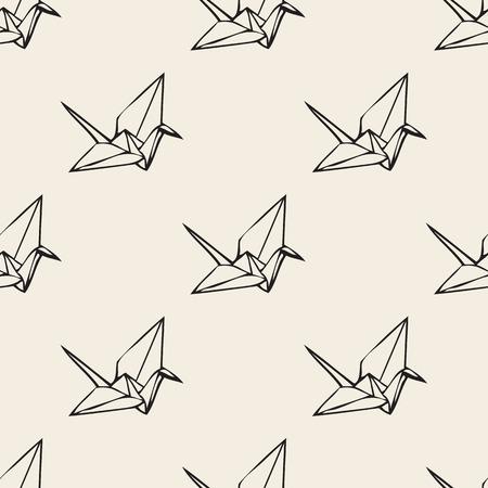 Seamless paper bird origami monochrome pattern background