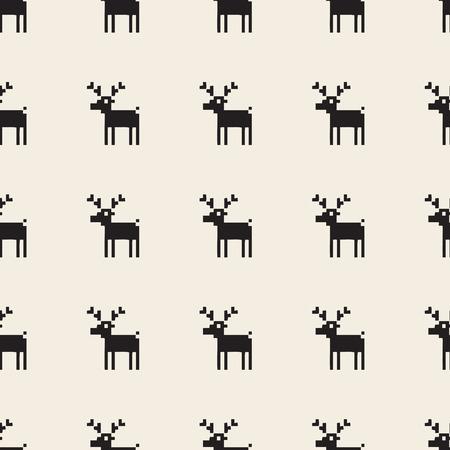 seamless pixel reindeer pattern background