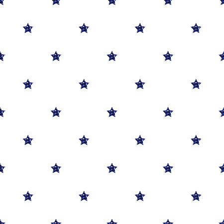 SEAMLESS BLUE STAR GLITTER PATTERN ON WHITE BACKGROUND Ilustração