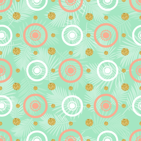 seamless fruit with gold dot glitter pattern on green background