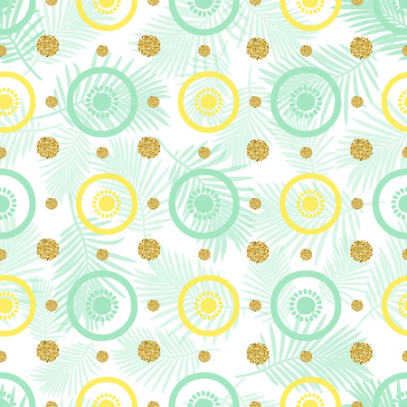 seamless lemon with gold dot glitter pattern background