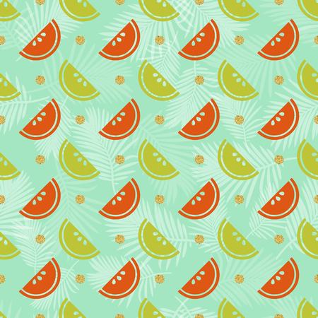 seamless colorful fruit with gold dot glitter pattern background
