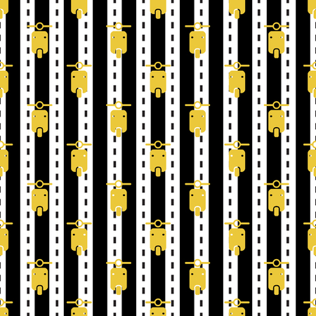 seamless yellow motorcycle pattern on stripe background 向量圖像