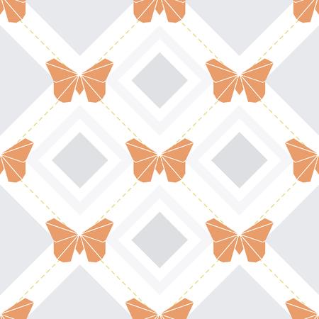naadloze origami vlinder patroon achtergrond Stock Illustratie