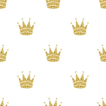 naadloze goud glitter kroon patroon achtergrond