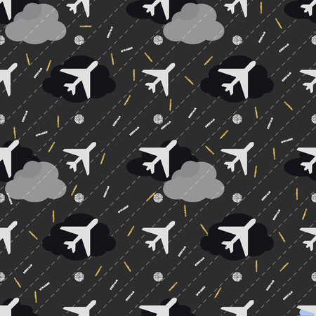 seamless white airplane in night sky with gold and silver glitter pattern background Ilustração