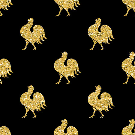 chick: seamless gold glitter chincken pattern on black background