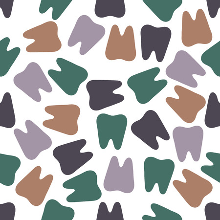 Seamless colorful teeth pattern on white background