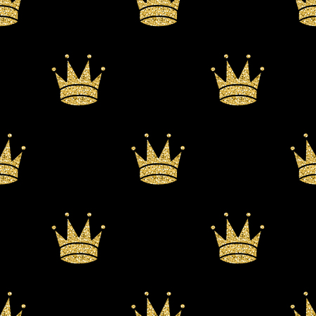 seamless gold glitter crown pattern background
