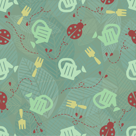 Seamless garden tools with red ladybug pattern background