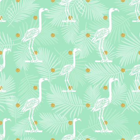 seamless white bird with gold dotglitter on palm leaf pattern background