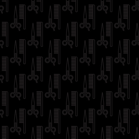 male grooming: seamless comb and scissors pattern background