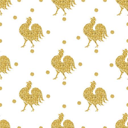 seamless gold glitter chicken with gold dot glitter pattern background