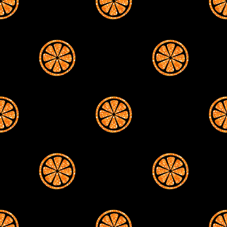 Seamless orange slice glitter pattern background