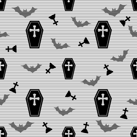 lugubrious: seamless casket and cross pattern on stripe background