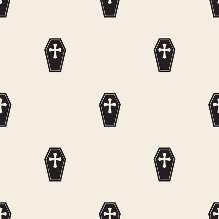 lugubrious: seamless monochrome casket and cross pattern background