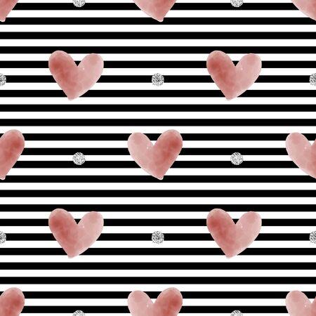 seamless glitter valentine day pattern on stripe background
