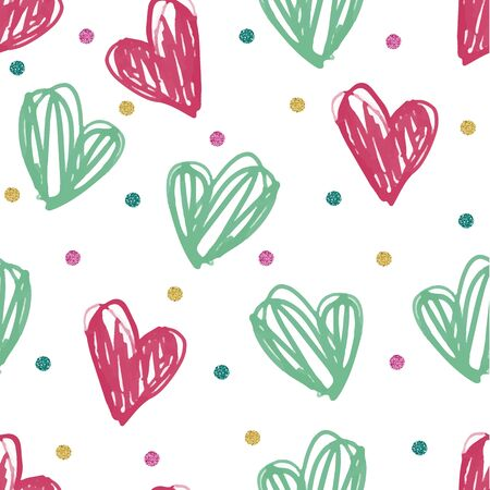 seamless colorful hand draw heart with dot glitter pattern background