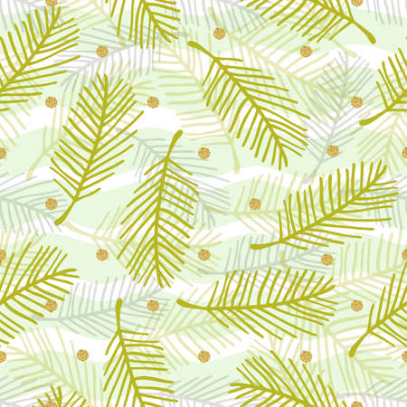 seamless monochrome green hand drawn palm leaf with gold dot giltter pattern on stripe background