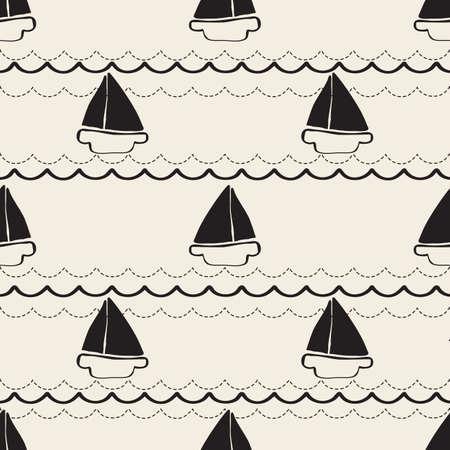 seamless monochrome hand drawn yatch with wave pattern background