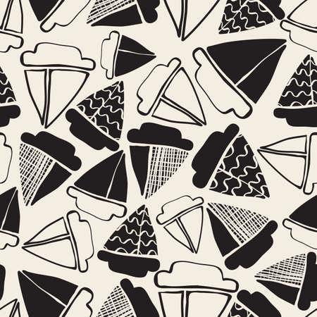 seamless monochrome hand drawn mix yacht pattern background