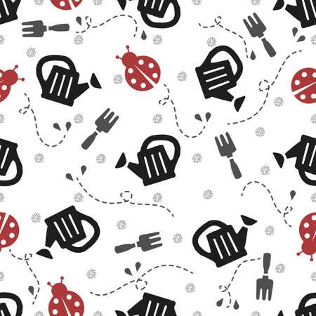 seamless gardening with red ladybug pattern background