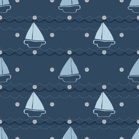 seamless hand drawn yatch and wave with silver dot glitter pattern on blue background Vettoriali
