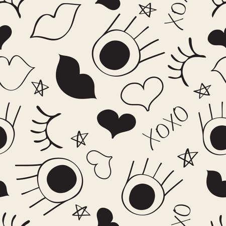 seamless monochrome hand drawn fashion pattern background with eye , eyelash ,lips and heart