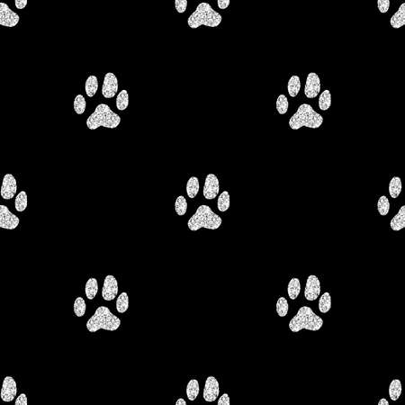 seamless silver glitter animal track pattern on black background