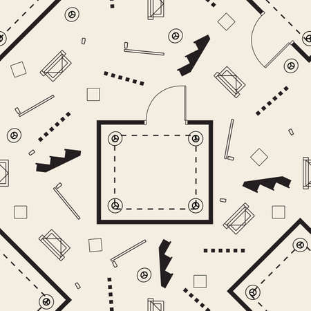 seamless monochrome room plan with grid ,wall,lighting ,door, window and stair pattern background Ilustración de vector