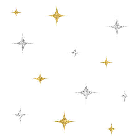 seamless silver and gold glitter star pattern on white background