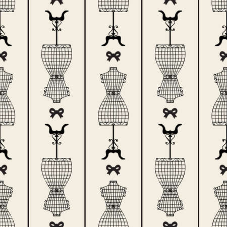 seamless monochrome vintage mannequin with ribbon pattern background 向量圖像